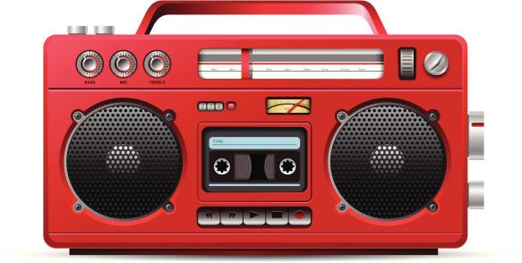 Red retro stereo cassette player illustration