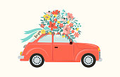 Red retro toy car delivering bouquet of flowers box on pink background. February 14 card, Valentine's day. Flower delivery. 8 March, International Happy Women's Day. Vector illustration.