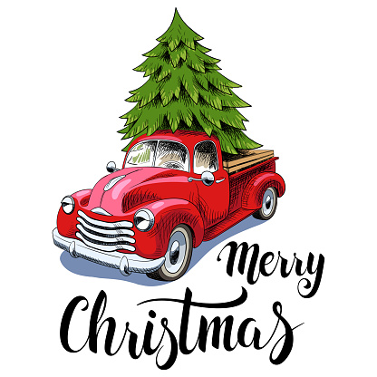 Red retro truck with Christmas tree and text Merry Christmas isolated on white, vector illustration.
