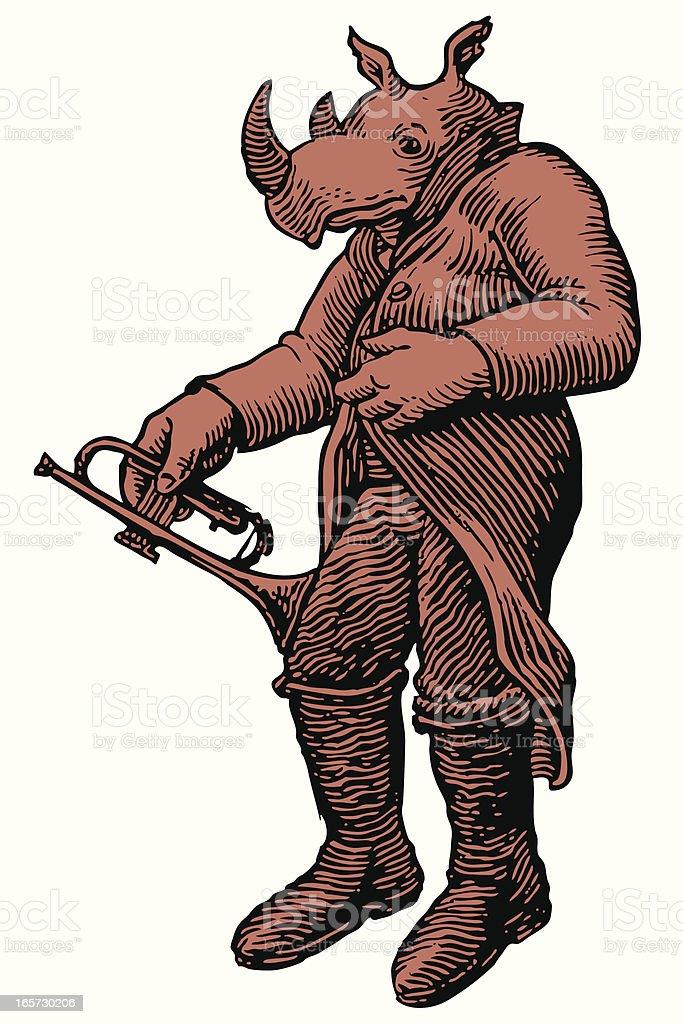 Red Rhino Trumpet Player vector art illustration