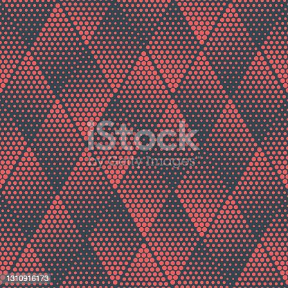 istock Red Rhombus Geometric Halftone Seamless Pattern Abstract Vector Background 1310916173