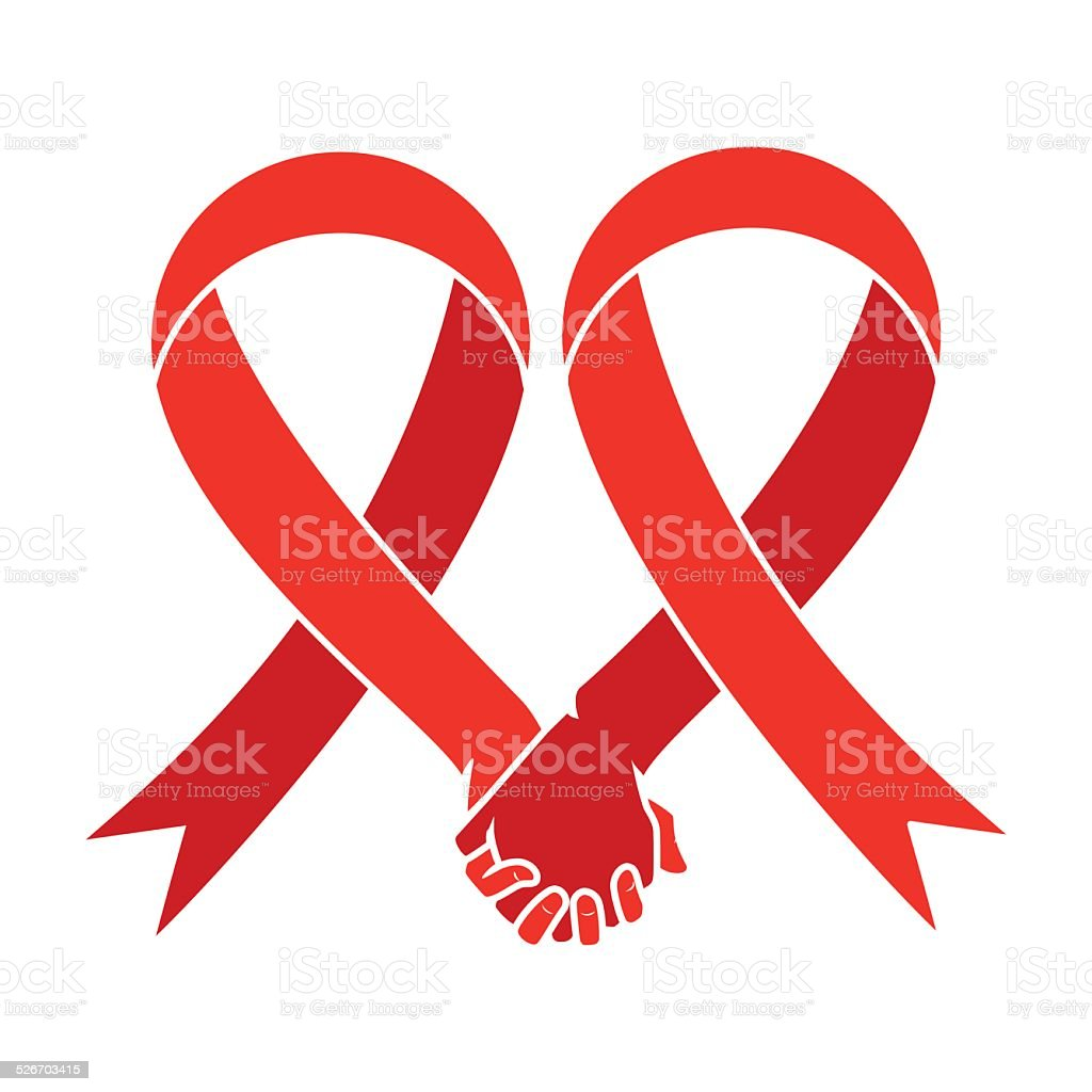 Red ribbon, aids awareness, heart hand symbol vector art illustration