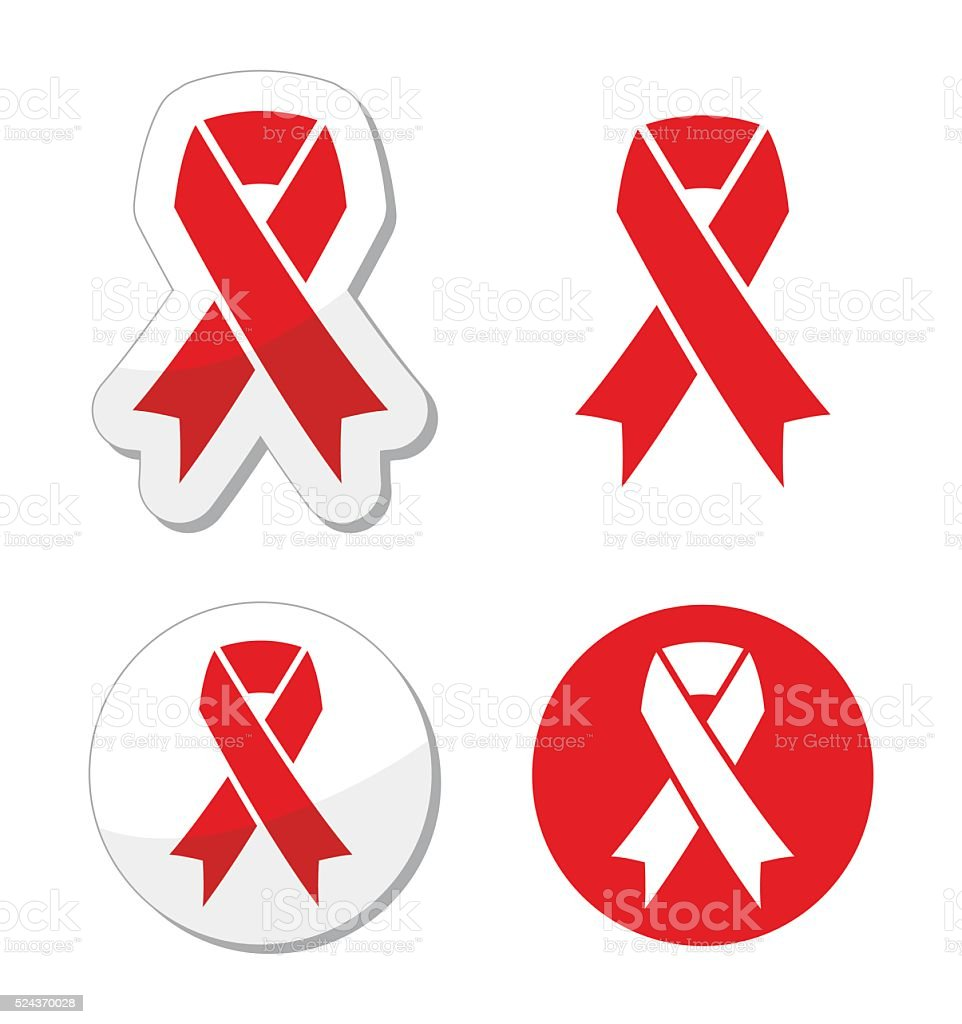 Red ribbon - AIDS, HIV, heart disease, stroke awareness sign vector art illustration