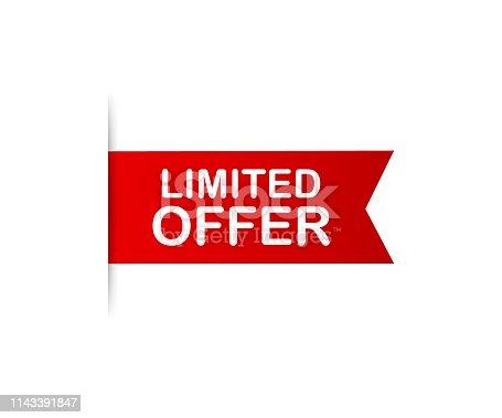 istock Red ribbon. Banner limited offer. Vector illustration. 1143391847