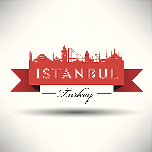 Red ribbon banner promoting the city of Istanbul vector art illustration