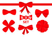 Red ribbon Christmas bow Big icon set. Decoration element for giftbox present. White background. Isolated. Flat design. Vector illustration