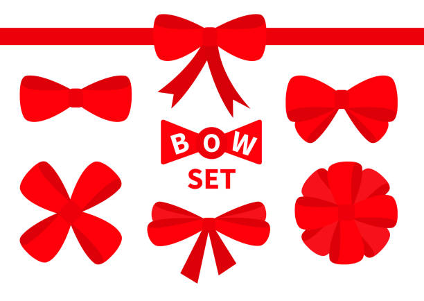 red ribbon christmas bow big icon set. decoration element for giftbox present. white background. isolated. flat design. - tied bow stock illustrations