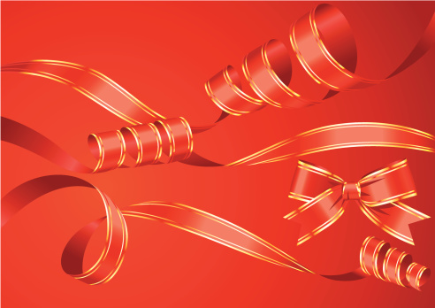 Red Ribbon Curles Set