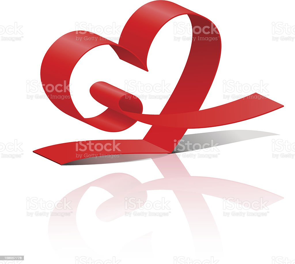 Red ribbon heart royalty-free stock vector art