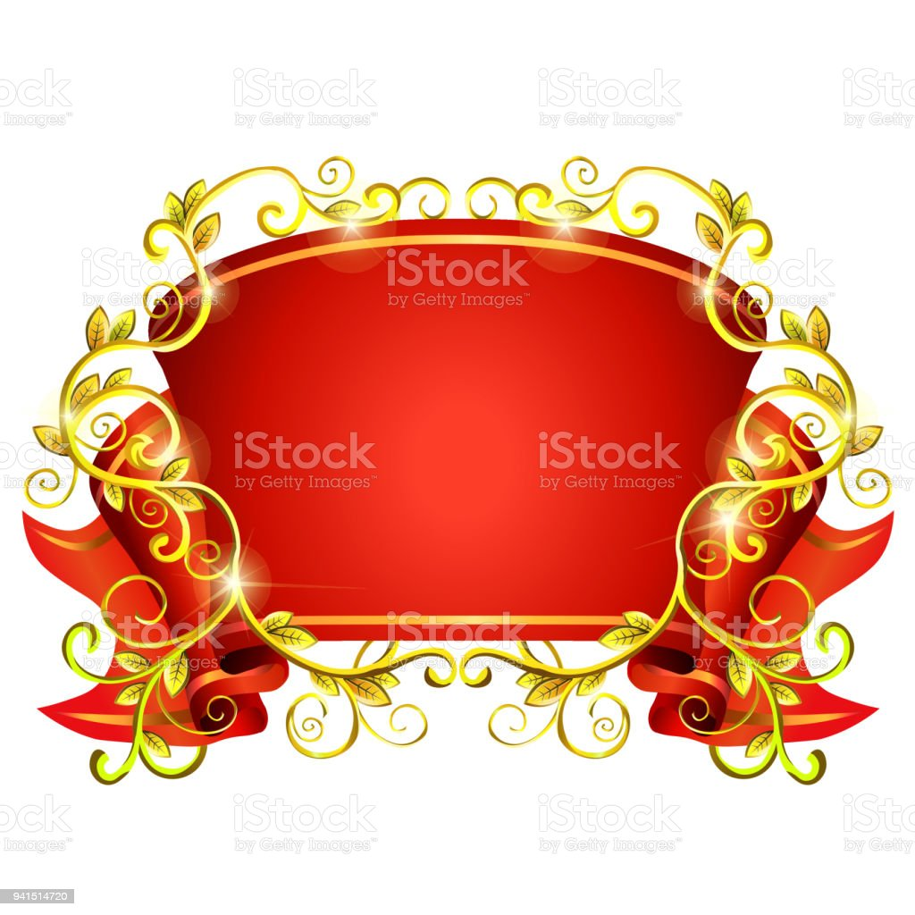 Red Ribbon In Vintage Style With Gold Wings Vector Frame Stock