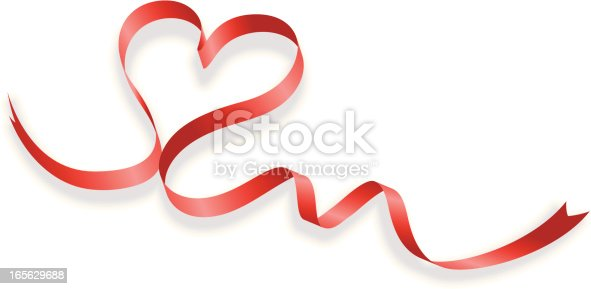 istock Red ribbon making the shape of a heart on a white background 165629688