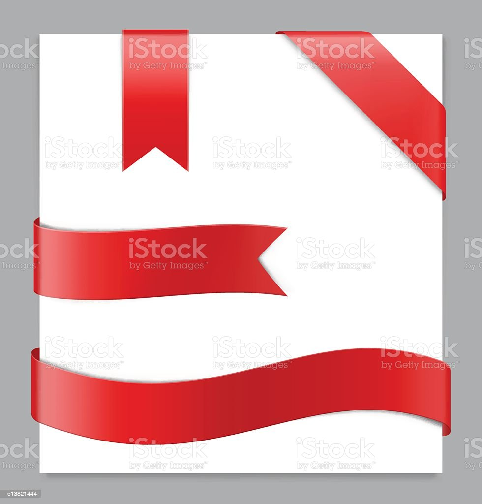Red ribbon on white background. Vector illustration. Web elements
