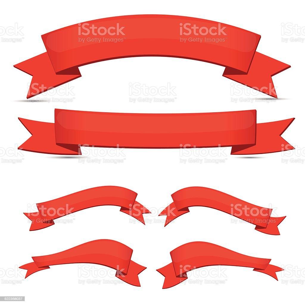 Red ribbon set vector art illustration