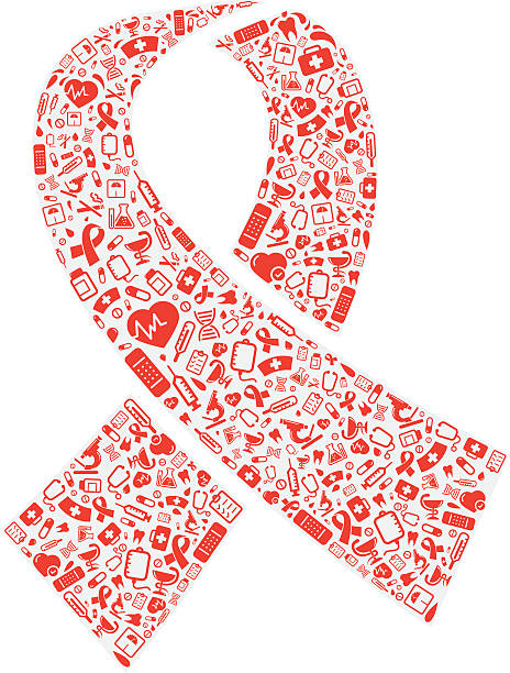 red ribbon shape with medical icons - aids stock illustrations