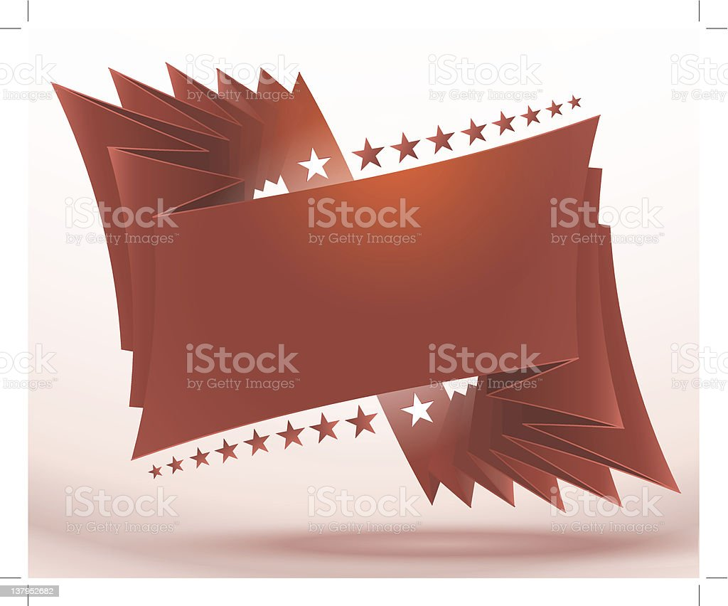 red ribbon with stars vector art illustration