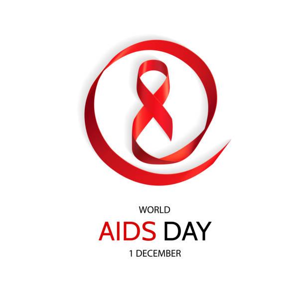 Red Ribbon, World AIDS Day Symbol, 1 December. vector art illustration