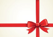 Red ribbons and greeting card, bows, box
