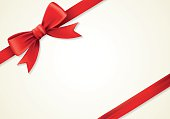 Red ribbons and greeting card, bows, ornament