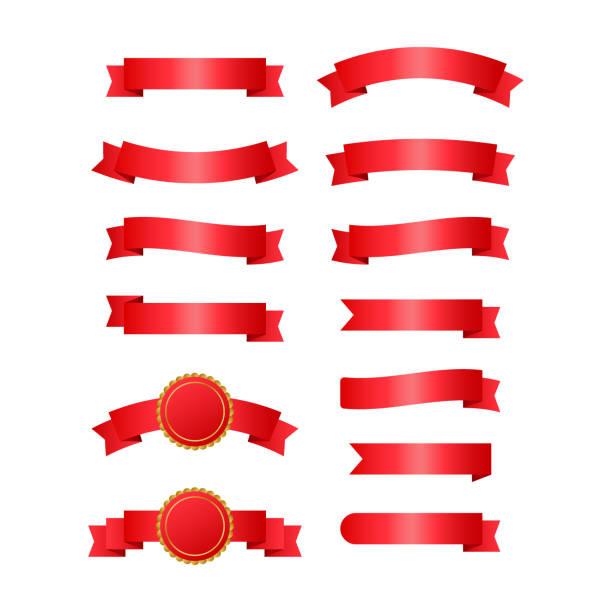 rote bänder banner. bänder. vector illustration. - maul stock-grafiken, -clipart, -cartoons und -symbole