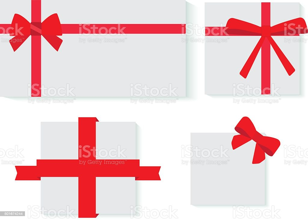 red ribbons gifts vector art illustration