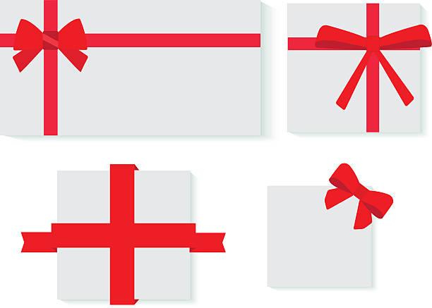 stockillustraties, clipart, cartoons en iconen met red ribbons gifts - birthday gift voucher