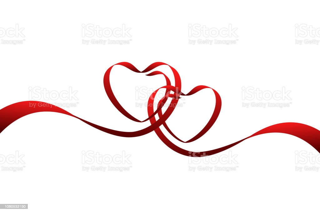 Download Red Ribbons In Shape Of Two Hearts Vector Illustration ...