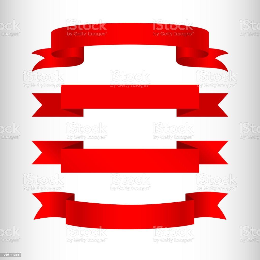 Rote Schleifen Auf Einem Hellen Hintergrund Gesetzt Isoliertes Element Der  Gestaltung Von Werbe Banner Plakate