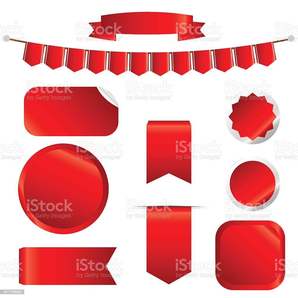 Red Ribbons Set isolated On White Background. vector art illustration