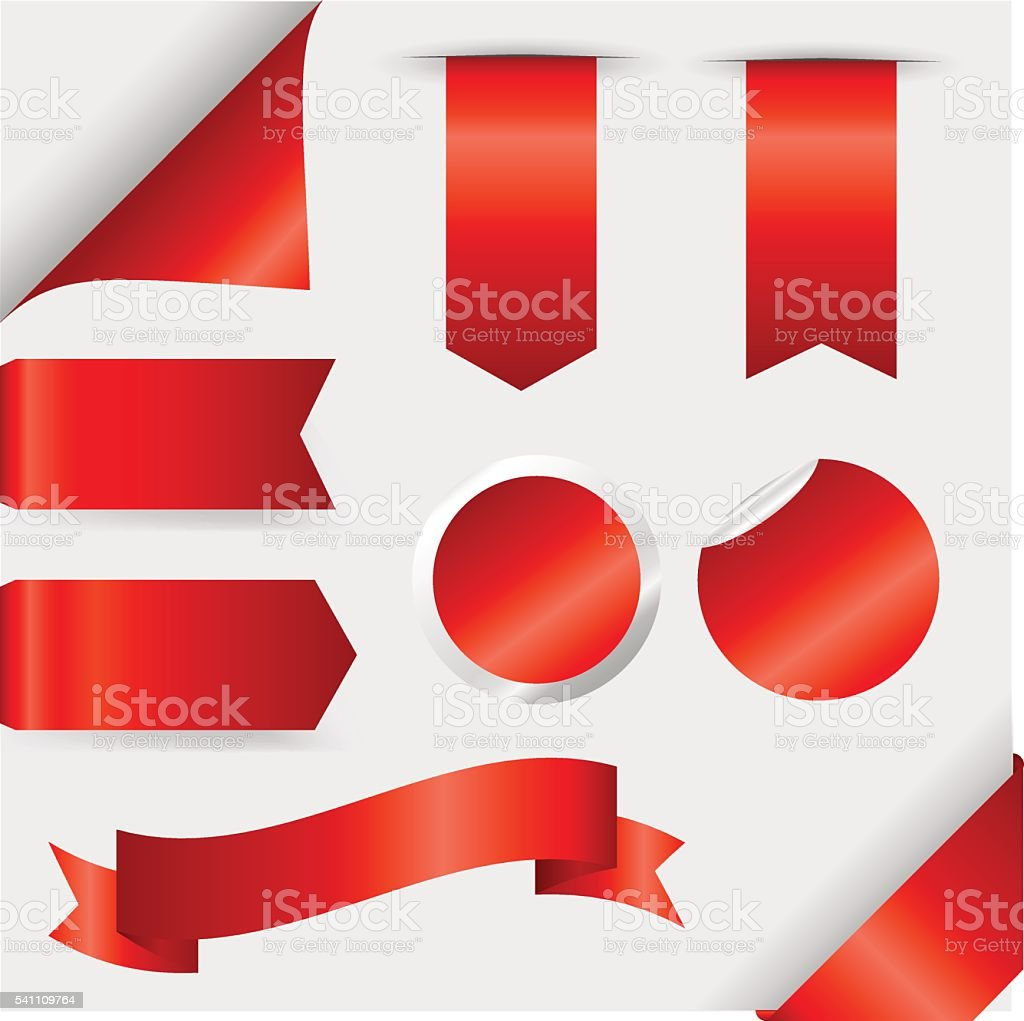 Red Ribbons Set isolated On White Background. Vector Illustration vector art illustration