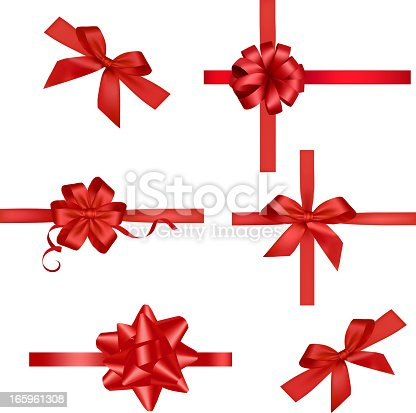 istock Red Ribbons Set 165961308