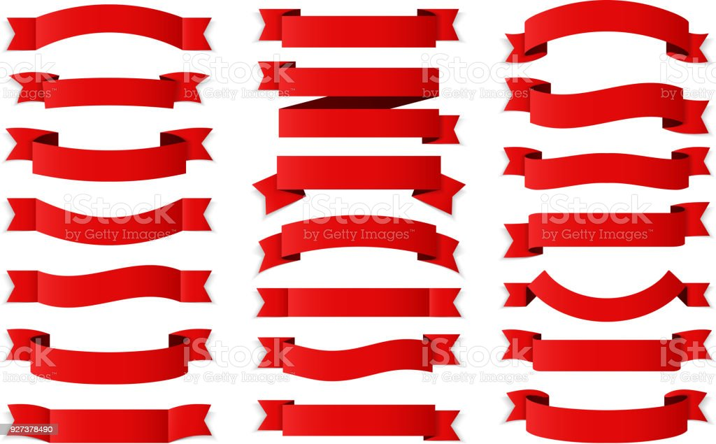 Red Ribbons vector art illustration