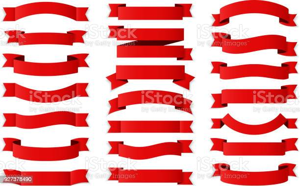 21 Red ribbons on white background, horizontal banners set, vector eps10 illustration