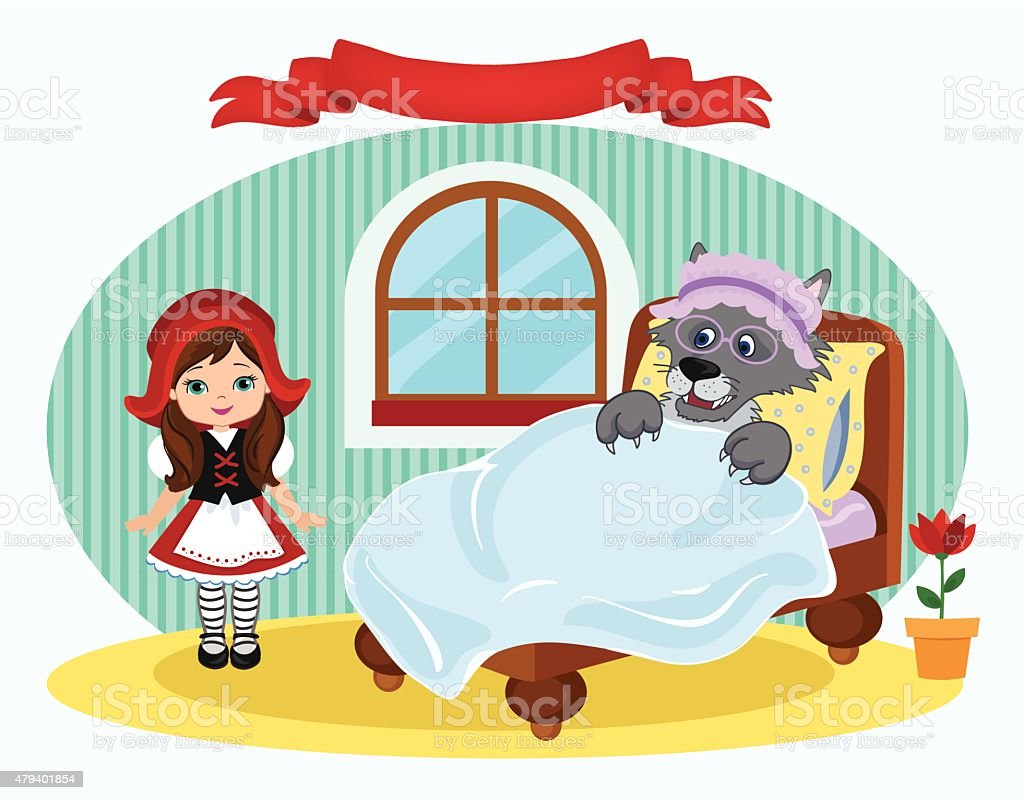 Red Riding Hood and  bed in which lies the wolf. vector art illustration