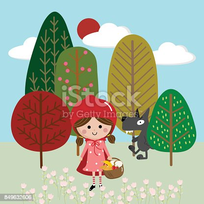 istock red riding hood vector and background 849632606