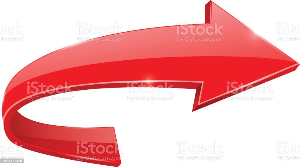 Red RIGHT Curved Arrow Web Icon Royalty Free Right