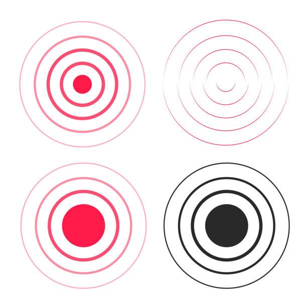 ilustrações, clipart, desenhos animados e ícones de ondinha vermelha anéis ondas sonoras ícones definido, linha círculo gradiente, rádio sinal preto e branco as linhas com grande ponto no centro, ondas de gota de água, elemento do epicentro design isolado no branco - texturas de riscos