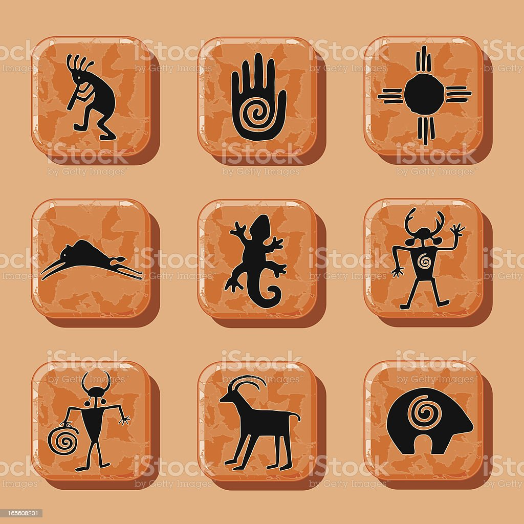 Red Rock Petroglyph Icons royalty-free stock vector art
