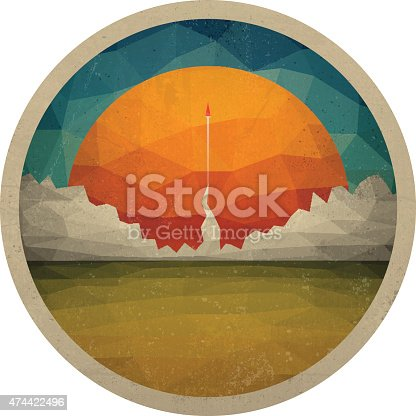 Abstract landscape of the triangles with the sun. Red rocket takes off from the space base. The launch into space. Start up concept vector. Vector illustration EPS10.