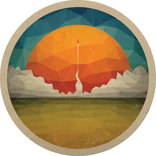 stockillustraties, clipart, cartoons en iconen met red rocket flies start up concept vector of triangles - ruimte exploratie