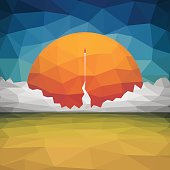 Abstract vector illustration of triangles. Red rocket flies into space. Start up concept vector of triangles.