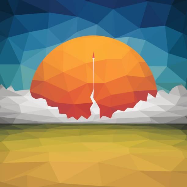 stockillustraties, clipart, cartoons en iconen met rode raket vliegt start up concept vector van driehoeken - ruimte exploratie