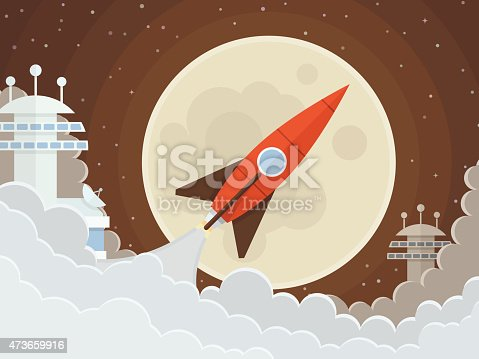Red rocket takes off from the space base. The launch into space. Start up concept vector. Vector illustration EPS10.