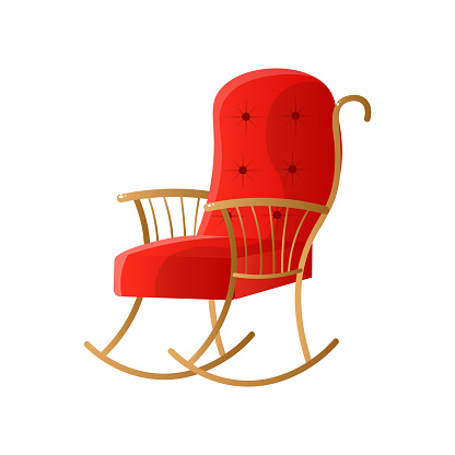 Red rocking chair with upholstery isolated on white background