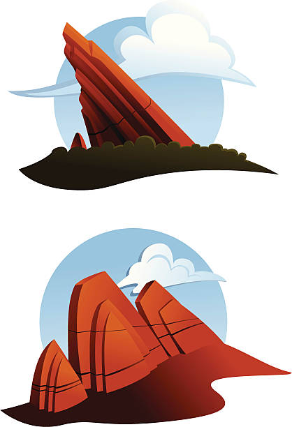 Red Rocks Illustration Set of two cartoon style illustrations of red sandstone outcrops. Could be used as icons. Objects are grouped and arranged on layers. rock formations stock illustrations
