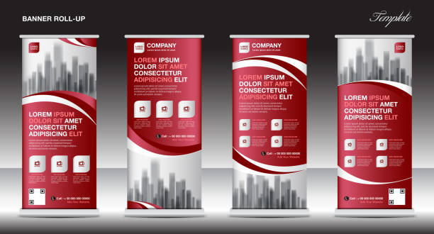 Red Roll up banner template vector, flyer, advertisement, x-banner, poster, pull up design, display, layout vector illustration Red Roll up banner template vector, flyer, advertisement, x-banner, poster, pull up design, display, layout vector illustration rolling stock illustrations