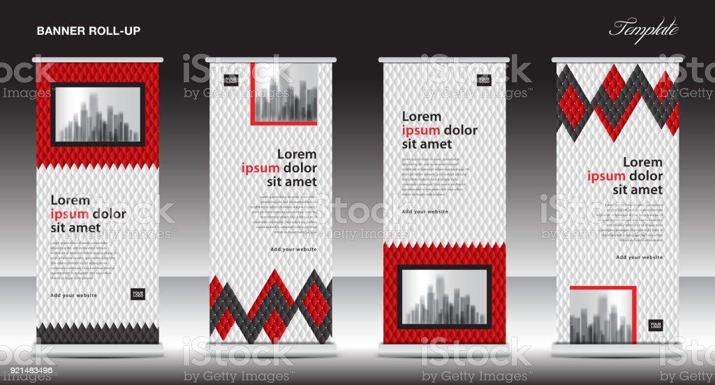 Red Rollup Banner Vorlagevektorillustration Polygon Hintergrund ...