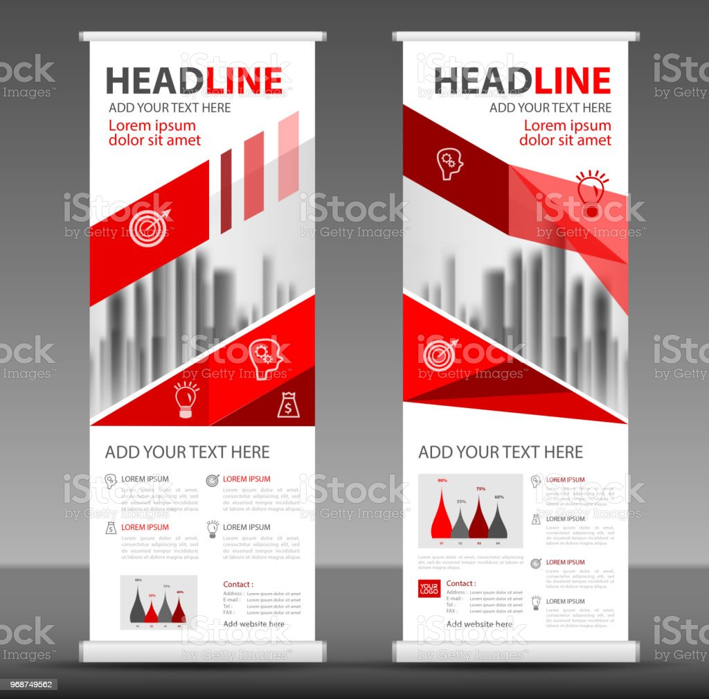 red roll up banner template vertical banner design poster