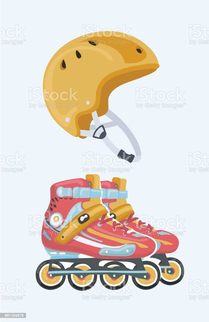 Red roller skate, sport equipment and yellow sport helmet royalty-free red roller skate sport equipment and yellow sport helmet stock vector art & more images of cap