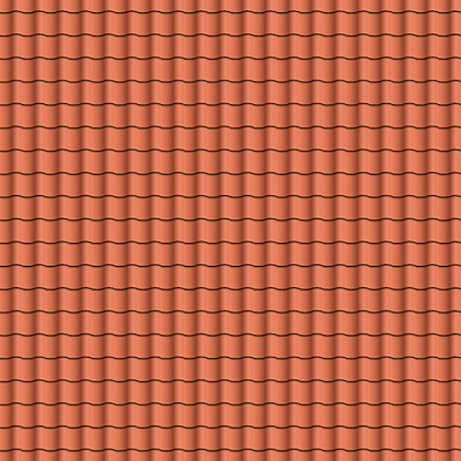 Red roof tiles background texture in regular rows.Seamless pattern. Vector illustration.