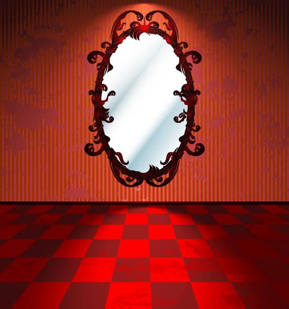"""zimmer """"rot"""" mit spiegel - spiegelfliesen stock-grafiken, -clipart, -cartoons und -symbole"""